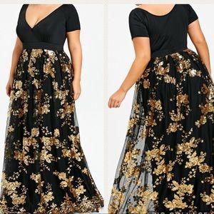 c22d2f29b2d Dresses - Plus Size Sequined Floral Maxi Formal Dress